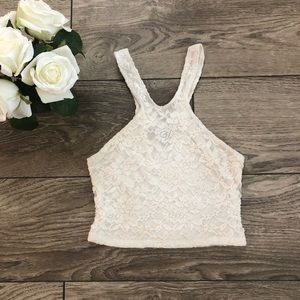 TELA white lace crop top size extra small